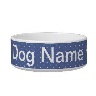 Add Dog Name Blue Quilt Bowl Pet Food Bowls
