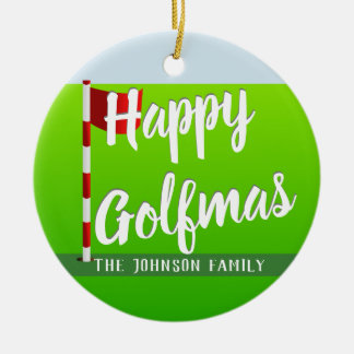 Add Family Name Green Happy Golfmas Ornament