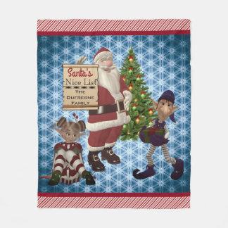 "Add Family Name ""Santa's Nice List"" Candy Cane Fleece Blanket"
