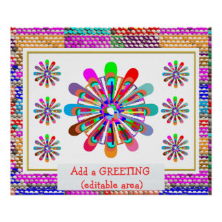 Add GREETING Text : Amazing Flower Chakra Art Poster