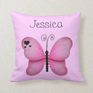 Add Her Name Pink Butterfly Decorative Pillow