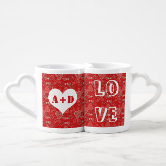 Add his and hers initials Valentine's Day hearts Coffee Mug Set
