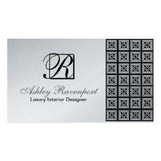 Add Info, Luxury Silver Monogram Business Cards