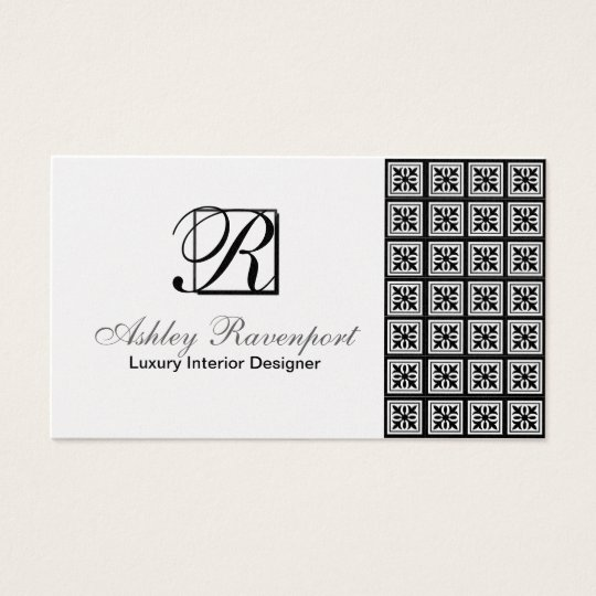 Add Info, Luxury Silver Monogram Business Cards