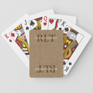 add initials and name to get personalized brown playing cards