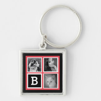 Add Instagram Photos Coral Monogram Key Ring