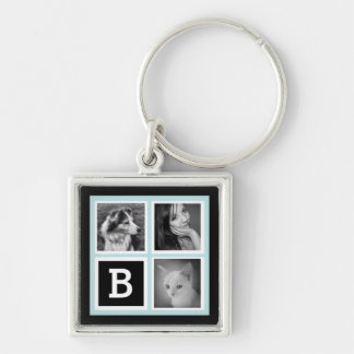 Add Instagram Pics Soft Aqua Blue Black Monogram Silver-Colored Square Key Ring