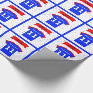 Add name 11th birthday t-shirt wrapping paper