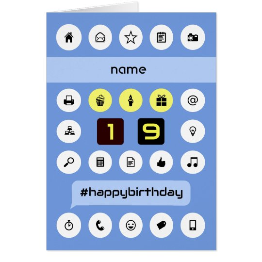 Add name 19th computing birthday personalised card