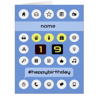 Add name 19th computing birthday personalized big greeting card