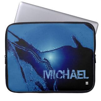 Add Name Blue Latex Emboss Laptop Zip Sleeve Laptop Computer Sleeve