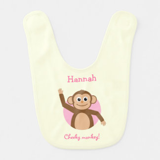 Add name cheeky monkey pink and cream bib