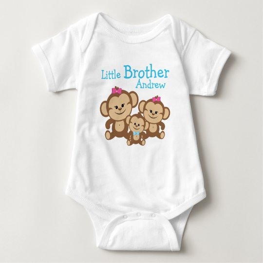 Add Name Customised Monkeys Little Brother Baby Bodysuit