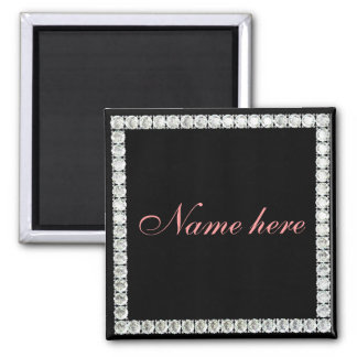 Add name-customizable diamond refrigerator magnet