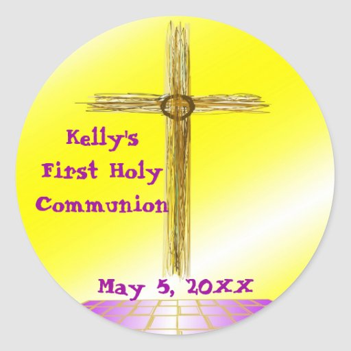 Add Name & Date First Holy Communion Stickers