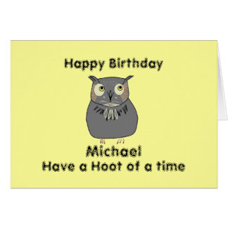 Add Name front Hooty Owl Birthday Greeting Card