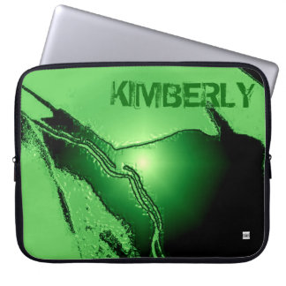 Add Name Green Latex Emboss Laptop Zip Sleeve Laptop Computer Sleeve