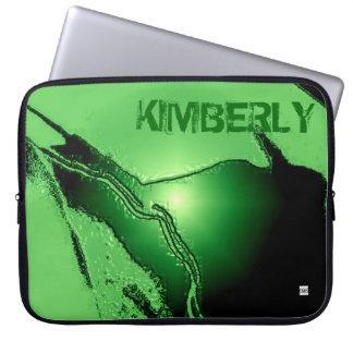Add Name Green Latex Emboss Laptop Zip Sleeve Laptop Sleeves
