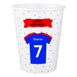 Add name Happy 7th birthday sports party Paper Cup