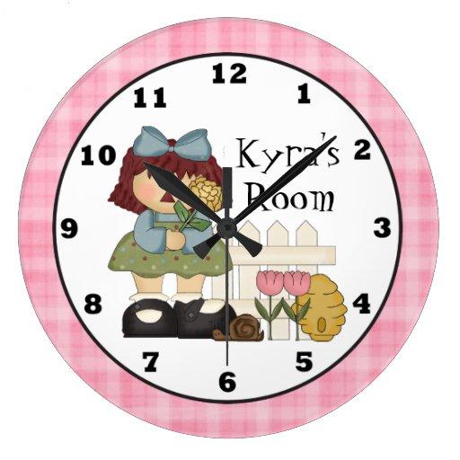 Add Name Kids Room Wall Clock Zazzle
