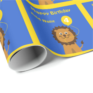 Add name lion 4th birthday blue yellow wrapping paper