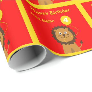 Add name lion 4th birthday red yellow wrapping paper