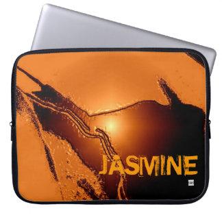 Add Name Orange Latex Emboss Laptop Zip Sleeve Computer Sleeve