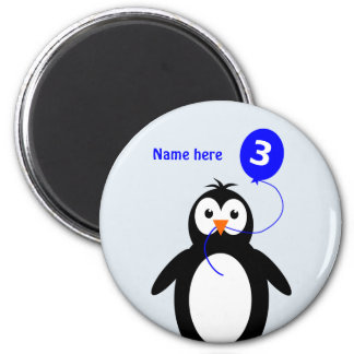 Add name penguin 3rd birthday blue magnet