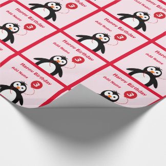Add name penguin 3rd birthday pink wrapping paper