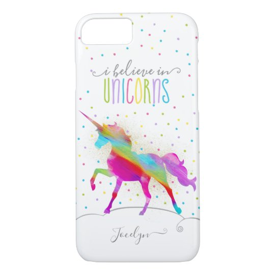 Add Name Personalised Gold Glitter Rainbow Unicorn iPhone