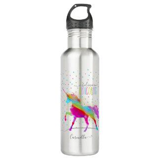 Add Name Personalised Rainbow Unicorn Gold Glitter 710 Ml Water Bottle