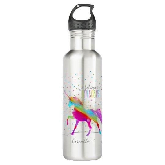 Add Name Personalised Rainbow Unicorn Gold Glitter 710