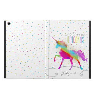 Add Name Personalised Rainbow Unicorn Gold Glitter Case For iPad Air