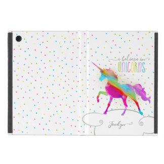 Add Name Personalised Rainbow Unicorn Gold Glitter iPad Mini Cover