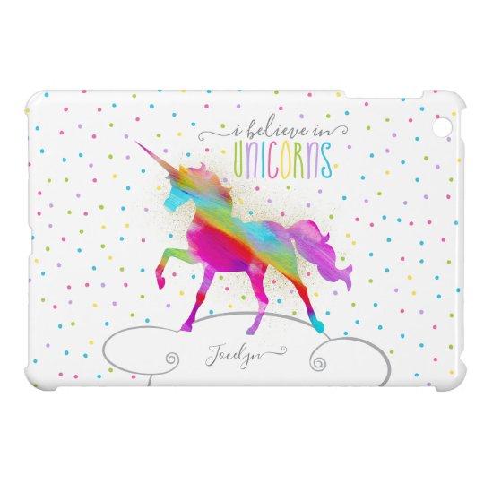 Add Name Personalised Rainbow Unicorn Gold Glitter iPad