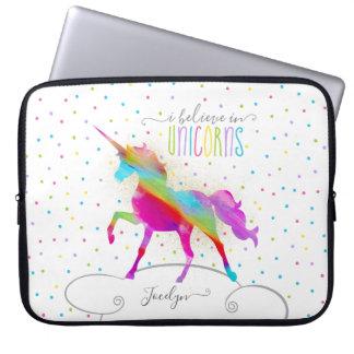 Add Name Personalised Rainbow Unicorn Gold Glitter Laptop Sleeve