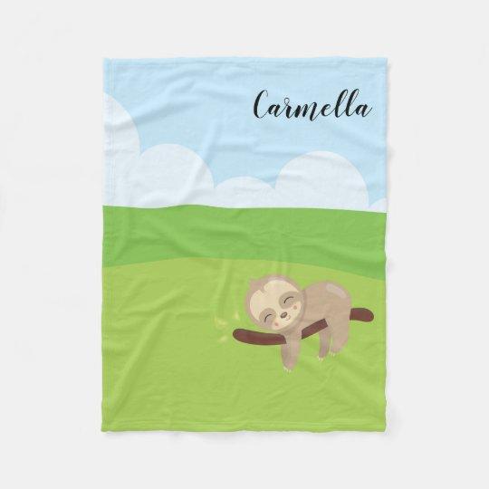 Add Name - Personalised Sleepy Sloth Fleece Blanket