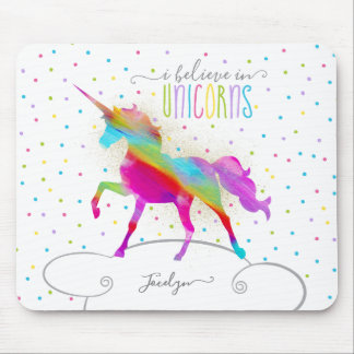 Add Name Personalized Rainbow Unicorn Gold Glitter Mouse Mat