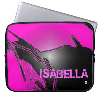 Add Name Pink Latex Emboss Laptop Zip Sleeve Laptop Sleeve