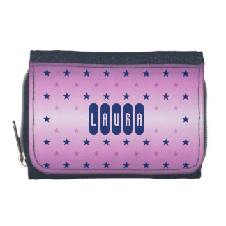 Add name purple pink stars wallet