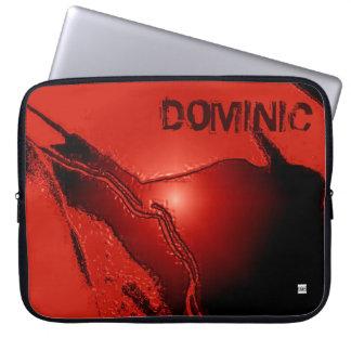 Add Name Red Latex Emboss Laptop Zip Sleeve Computer Sleeves