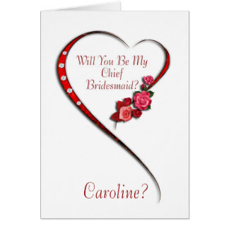 Add name, Swirling heart Chief Bridesmaid invite Card