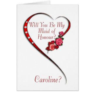 Add name, Swirling heart Maid of Honour invitation