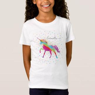 Add Name to Rainbow Gold Glitter Unicorn Birthday T-Shirt
