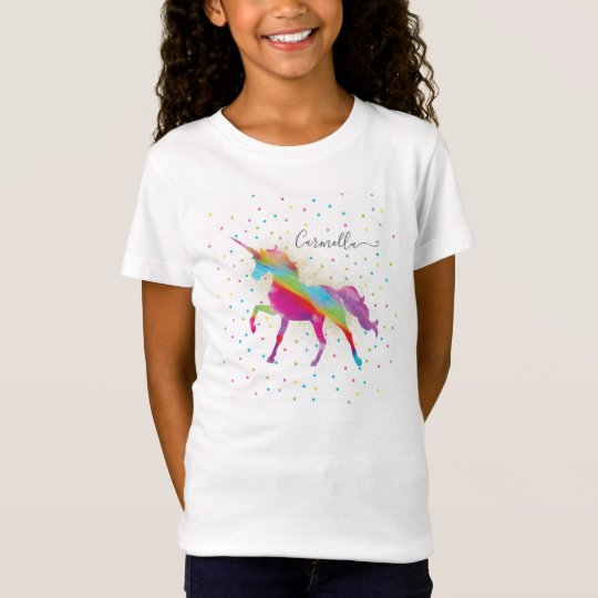 Add Name to Rainbow Gold Glitter Unicorn Birthday