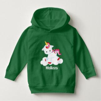 Add name toddler girls unicorn hoodie