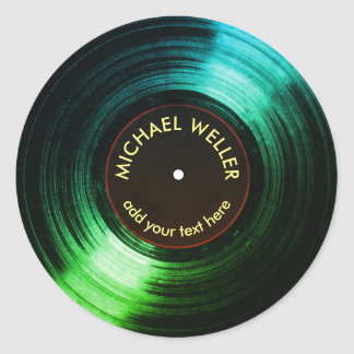 add-name vinyl record green classic round sticker