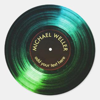 add-name vinyl record green round sticker