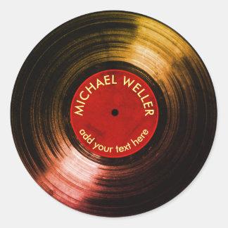 add-name vinyl record round sticker