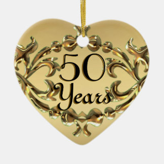 Add Names 50 Years Anniversary Gold Heart Ornament